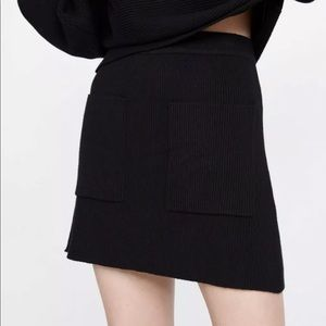 Zara mini knit skirt with pockets S